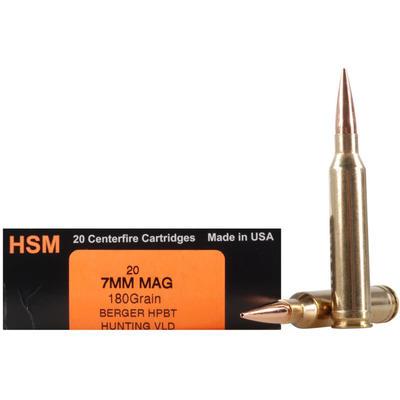HSM Ammo Trophy Gold 7mm Magnum BTHP 180 Grain