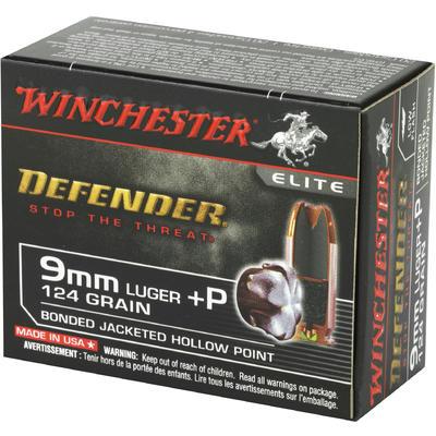 Winchester Ammo Elite PDX1 Defender 9mm Bonded JHP 124 Grain