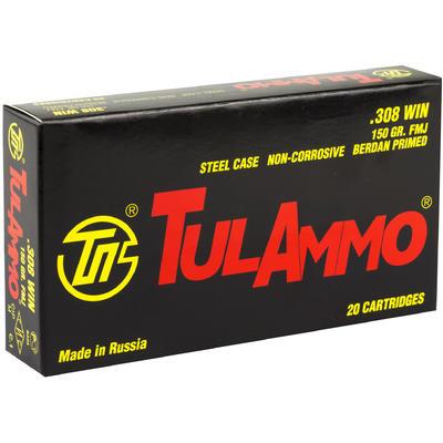 Tula Ammo 308 Win (7 62 NATO) FMJ 150 Grain Steel Case