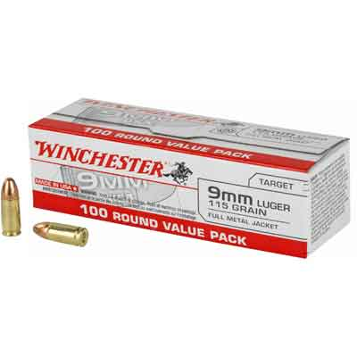 Winchester Ammo Best Value 9mm 115 Grain FMJ 100 R