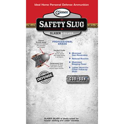 CorBon Ammo Glaser Safety Slug Silver 9mm+P RN 80 Grain