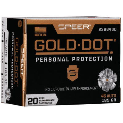 Speer Ammo Gold Dot Personal Protection 45 ACP 185