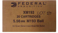 Federal Ammo XM 5.56x45mm (5.56 NATO) FMJBT 55 Gra