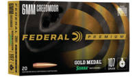 Federal Ammo Gold Medal 6mm Creedmoor 107 Grain Si