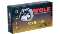 Wolf Ammo Gold 303 British FMJ 174 Grain 20 Rounds