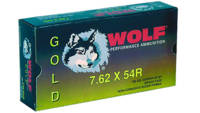 Wolf Ammo Gold 7.62x54mm Russian JSP 180 Grain 20