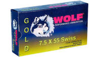 Wolf Ammo Gold 7.5x55mm Swiss FMJ 174 Grain 20 Rou