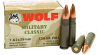 Wolf Ammo Military Classic AK-47 7.62x39mm JHP 124
