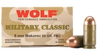 Wolf Ammo Military Classic 9x18mm Makarov FMJ 95 G