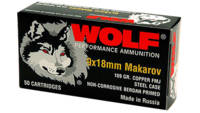 Wolf Ammo 9x18mm Makarov FMJ 94 Grain 1000 Rounds