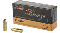 Pmc Ammo .25 acp 50 Grain fmj-rn 50 Rounds [25A]