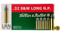 S&b Ammo .32 sw long 100 Grain lead-rn 50 Roun
