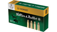 Sellier & Bellot Ammo 22 Hornet SP 45 Grain 20
