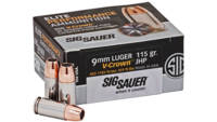 Sig Ammo 9mm luger 115 Grain elite v-crown jhp 20