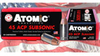 Atomic Ammo  45 acp subsonic 250 Grain bonded jhp 50 Rounds [00439]