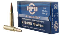 Prvi Partizan PPU Ammo 7.5x55mm Swiss 174 Grain SP