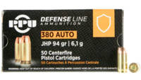 PPU Ammo Defense 380 ACP 94 Grain JHP 50 Rounds [P