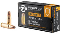 PPU Ammo Defense 7.62x25mm Tokarev 85 Grain JHP 50