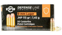 PPU Ammo Defense 9mm 115 Grain JHP 50 Rounds [PPD9