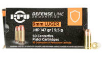 PPU Ammo Defense 9mm 147 Grain JHP 50 Rounds [PPD9